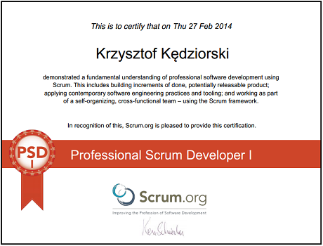 Professional Scrum Developer I